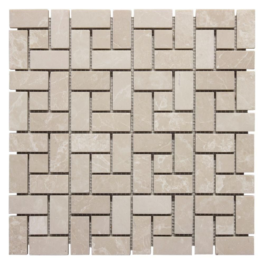 Jeffrey court in x in basketry marble mosaic wall tile