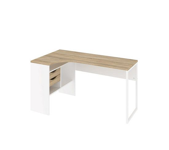 Bureau dangle ALKOR Imitation chne clairblanc Office table