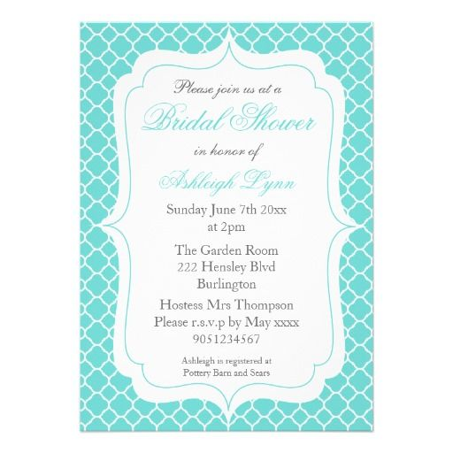 Modern Aqua Quatrefoil Bridal Shower Invitations #bridalshower #wedding #quatrefoil #aqua #invitations