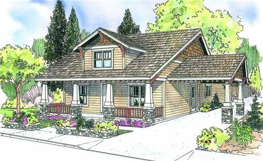 the markham home plan is a two story, bungalow style house plan with