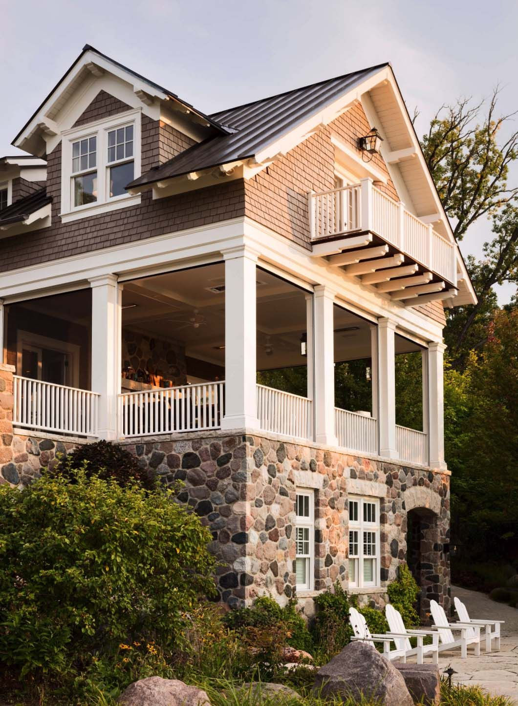 Beautiful Shingle Style Home In Wisconsin Designed To Maximize Lake Views Shingle Style Homes Beach House Plans Cottage Style House Plans