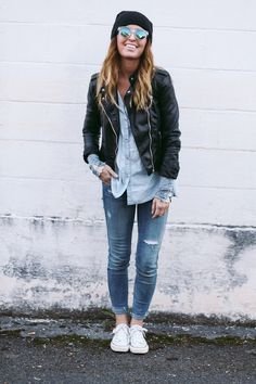 Varsity jacket, button down, cuffed jeans, beanie, and white converse = in love.