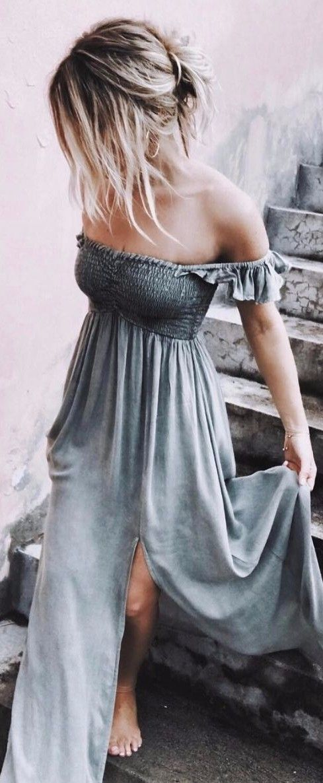 e561ccfbb3c ... fashion inspiration   off shoulder maxi dress boho style outfit ideas  inspiration women s wear grey dress shirred stretch bodice elastic top maxi  length