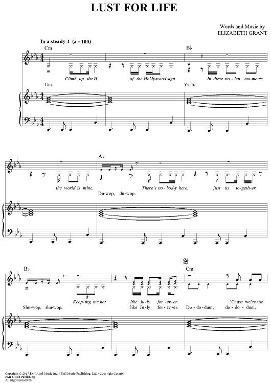 Lust For Life Sheet Music by Lana Del Rey | Sheet music, Lana del ...