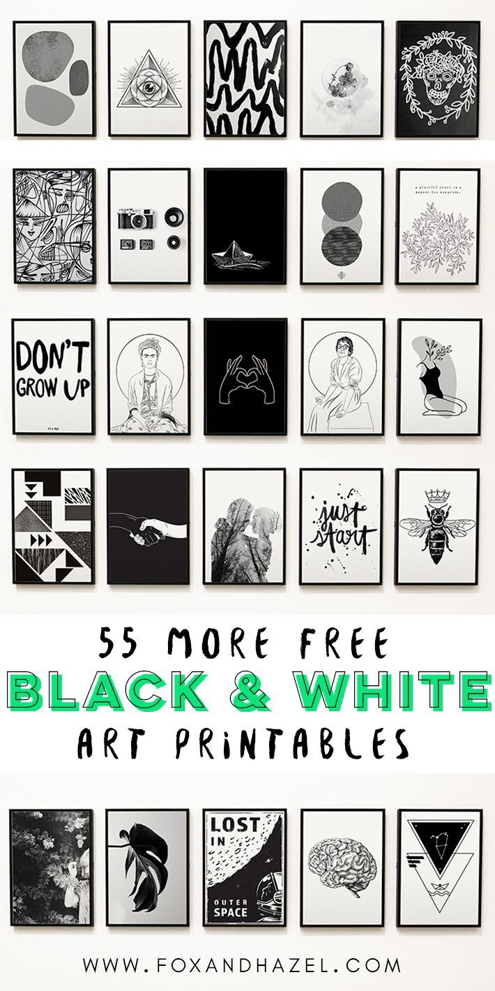 55 More Free Black and White Art Printables | Fox + Hazel | free art + designs