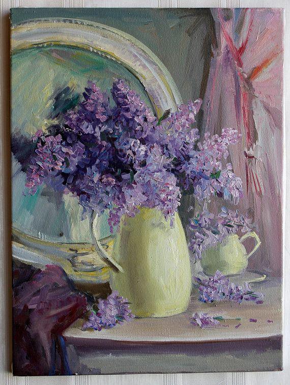 Lilac Bouquet in vase Mirror Original oil painting Spring