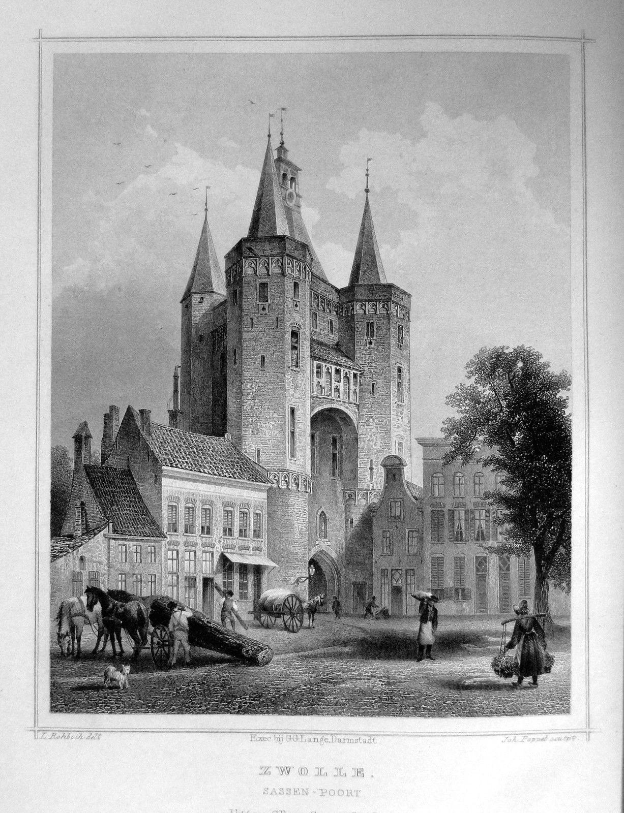Zwolle-Sassen Poort   Herkomst : J.L. Terwen - Het Koningrijk der Nederlanden, afm. 14 x 20 cm Staalgravure 1860