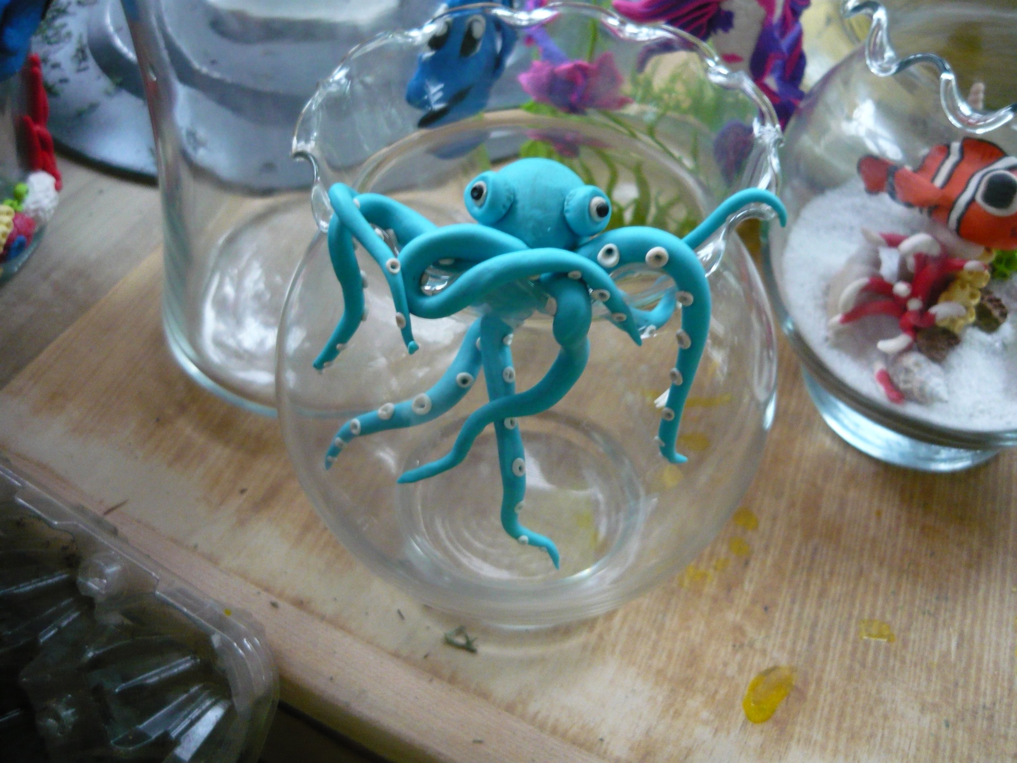 hanging on octopus made from fimo clay