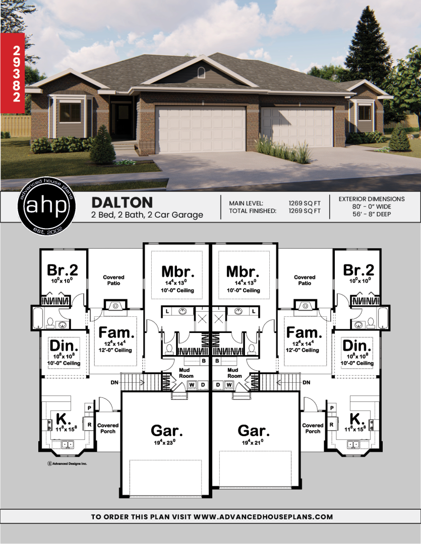 1 Story Multi Family Traditional House Plan Dalton Duplex Floor Plans Duplex House Plans Duplex Plans