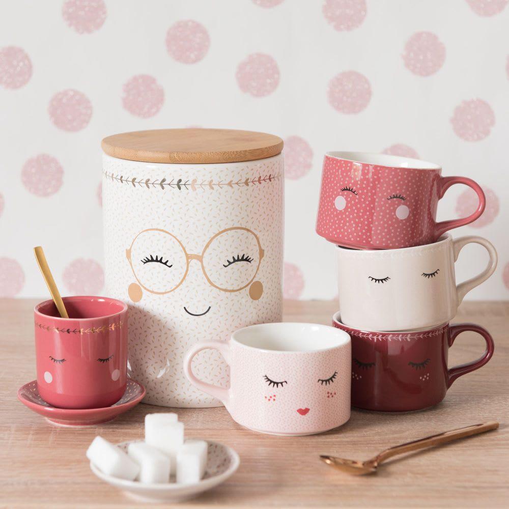 4 Tassen Aus Bedrucktem Porzellan Mit Metallständer Mistinguette Tassen Design Tassendesign Porzellan