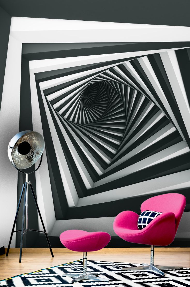 Black And White 3d Perspective Wallpaper Mural Perfect For Creating The Il Geometric Pattern