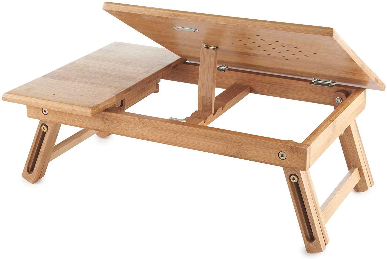 Vonhaus Portable Folding Lapdesk For Laptops Portable Bed Laptop Tray With Drawer Adjustable Bamb Muebles Plegables Proyectos De Carpinteria Mesa De Dibujo