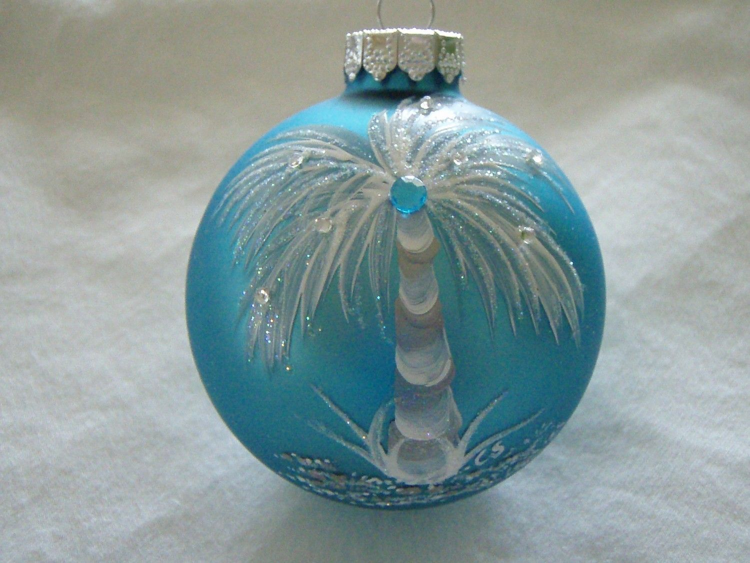 Tropical Hand Painted Turquoise Glass Ornament Painted