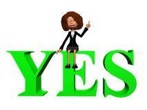 Empresaria con palabra YES. Verde.