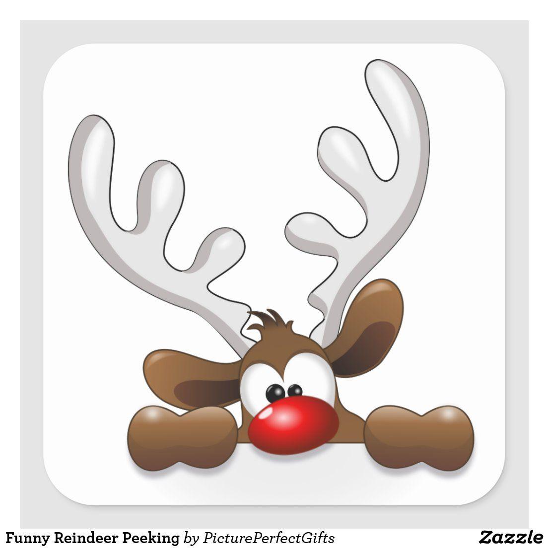 Funny Reindeer Peeking Square Sticker Zazzle Com In 2020 Christmas Clipart Christmas Art Christmas Images