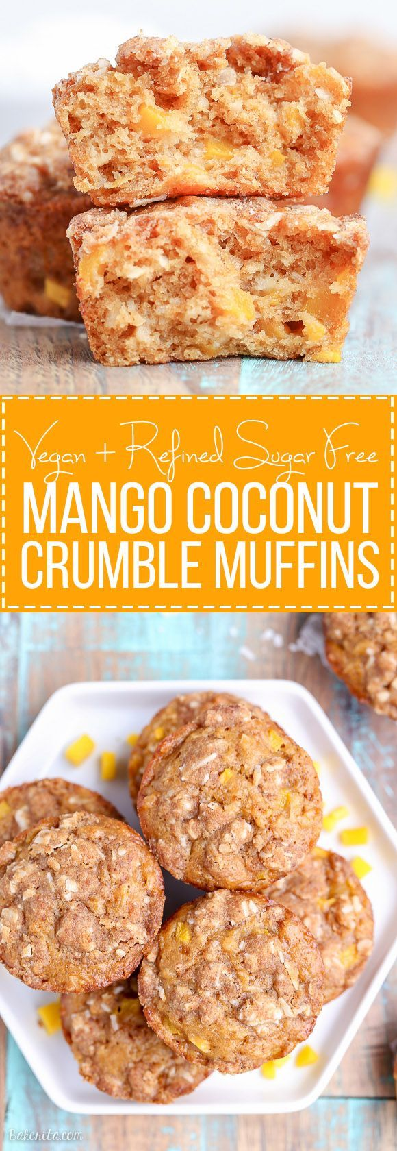 These Mango Coconut Crumble Muffins are tender and full of tropical flavor! These vegan muffins use coconut oil, coconut flakes, and fresh diced mango for a treat that will make you feel like you're on vacation.