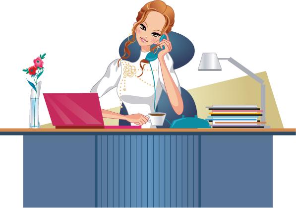 Mujer Trabajadora Negocios Vector Mujer Trabajadora Mujer De Negocios Secretaria Animada