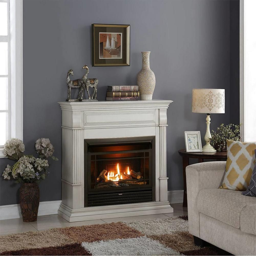 Duluth Forge 40 In Ventless Dual Fuel Gas Fireplace In Antique White With Remote Control 170105 The Home Depot Gas Fireplace Natural Gas Fireplace Propane Fireplace Indoor
