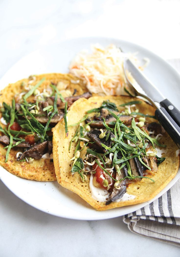 Vegan Chickpea Crepes with Balsamic Glazed Portabellos #breakfast #vegan #glutenfree |