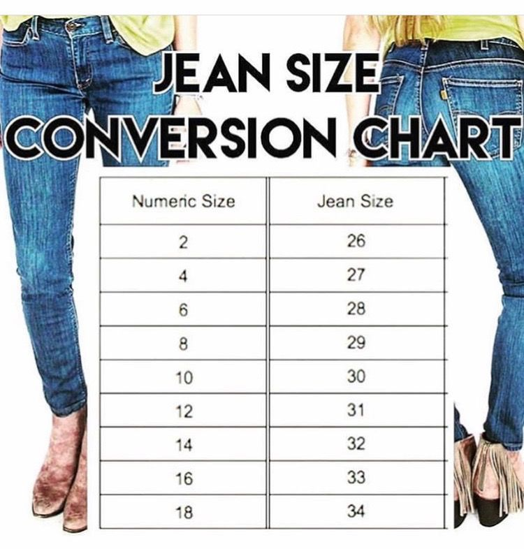 Jean size conversion chart with images fashion buy