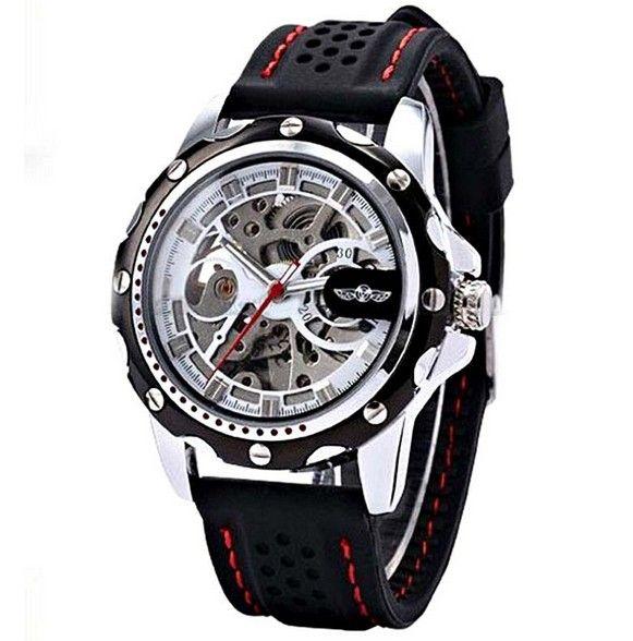 Pánské skeleton automatické sportovní hodinky WINNER – automaty silikonový  pásek automatické natahování Na tento produkt se vztahuje nejen zajímavá  sleva a54b23fd761