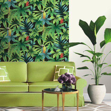 Papier peint papier Perroquet vert salle de bain Pinterest