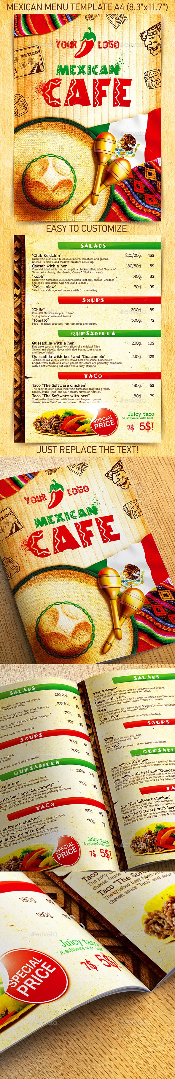 Mexican Menu Template Vol2 Pinterest Mexican Menu Menu
