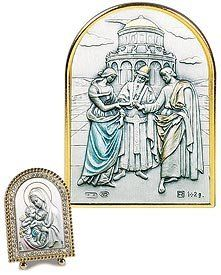 """Bible Story Wedding at Cana Gold Crystal Framed Artwork. Italy's Genuine Sterling Silver Images Are Cast in a Beautiful Setting of Swarovski® Crystals, Mother of Pearl, or Enamel Tabletop Frames. Sterling/gold Plate/crystals -- 2"""" W X 3"""" H -- Series 3e Gold Crystal Value Line http://www.amazon.com/dp/B00D62CA6Q/ref=cm_sw_r_pi_dp_heJsvb08XGETJ"""