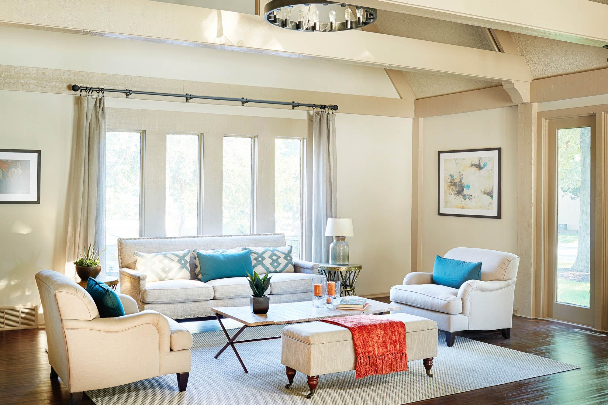 This fresh apartment clubhouse remodel adds turquoise and orange ...