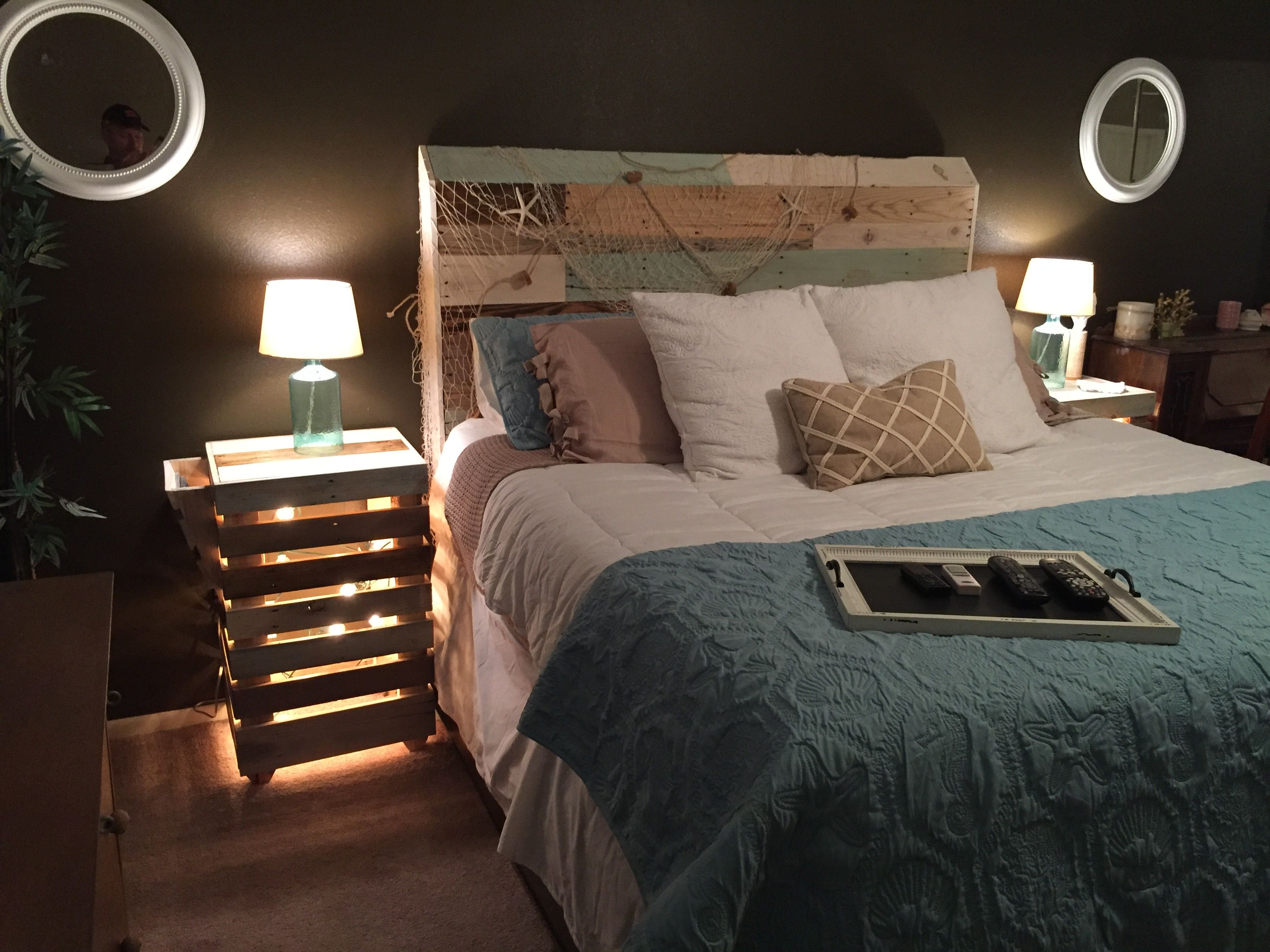 Pallet Headboard and Nightstands built for my daughter, she has a designer's eye.