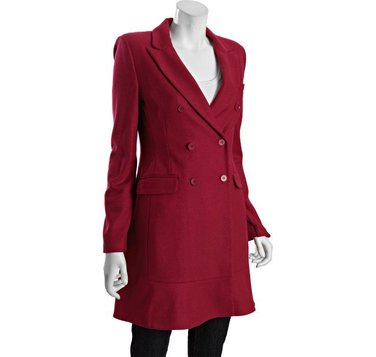 BCBGMAXAZRIA boysenberry wool-blend 'Dolce' flared hem coat
