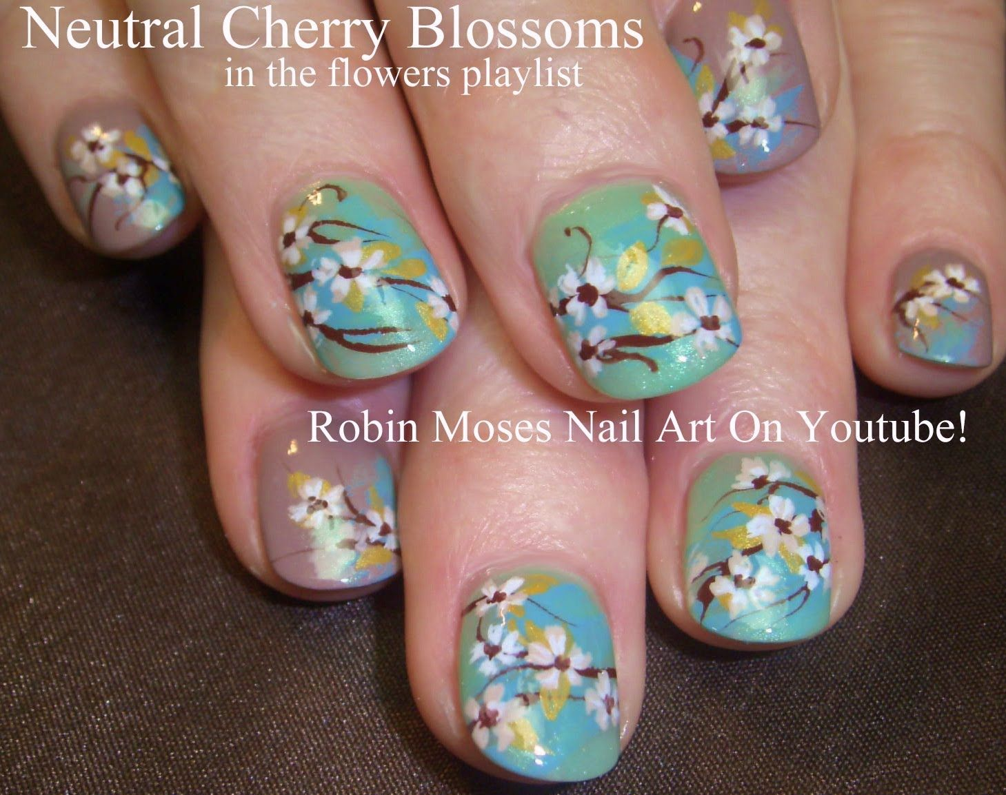 Neutral Cherry Blossom Nail Art | FLOWERS nail art pictures with ...