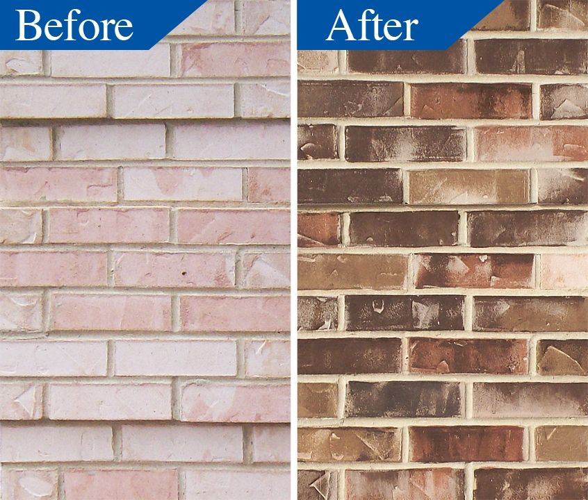 Thousands of masonry buildings have had successful color modifications with stain for the for Staining brick exterior pictures