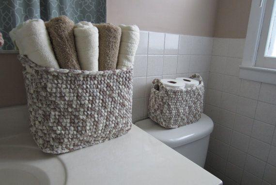 Towel Storage Basket Large Bin For Bathroom Toiletries Etsy Storage Baskets Towel Storage Bathroom Basket Storage