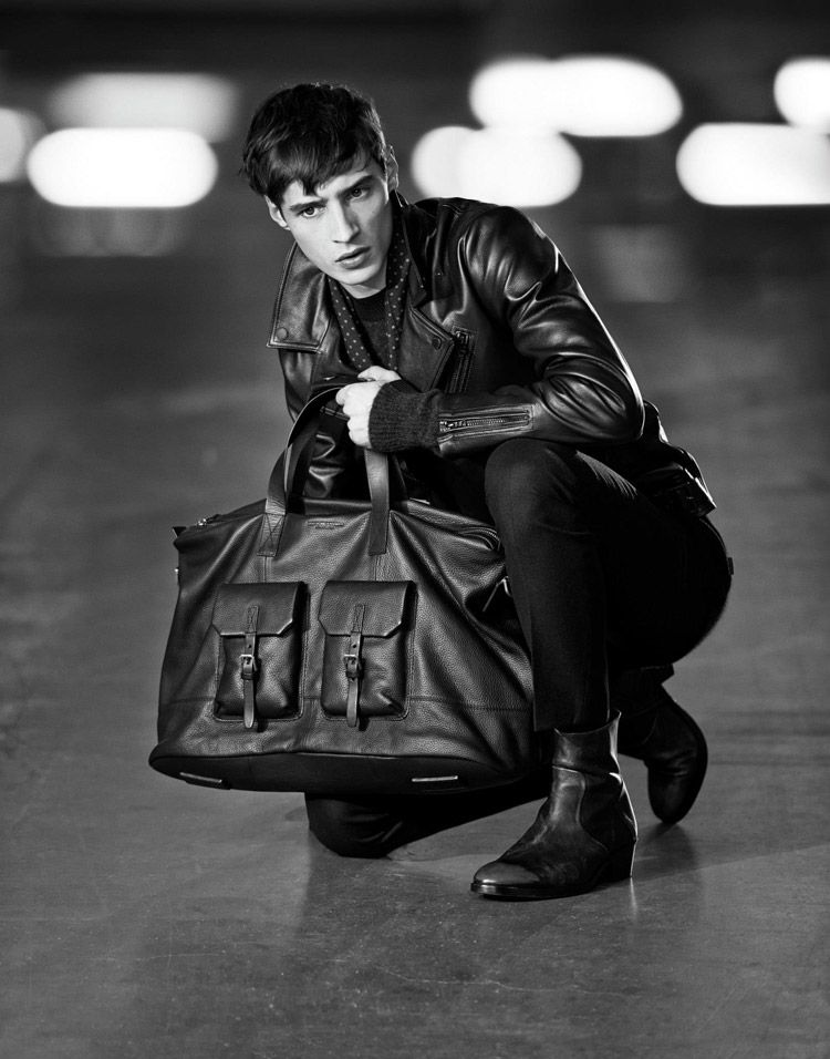 Tiger of Sweden,  Fall-Winter Collection 2014.15, Leather biker jacket, jeans and boots. Leather travel bag,