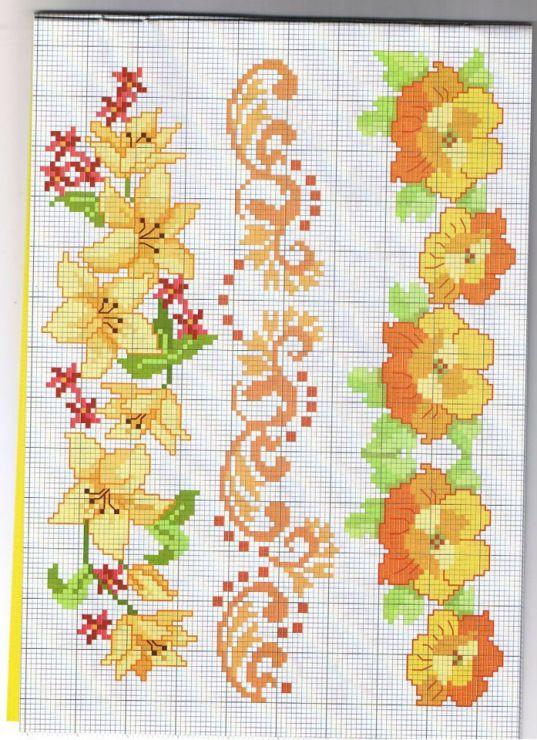 Bordi fiori punto croce punto croce kreuzstich for Bordi punto croce