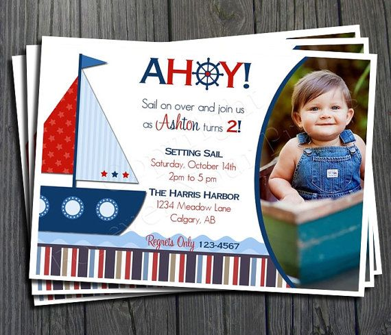Nautical Birthday Invitation FREE Thank You by ForeverYourPrints ...