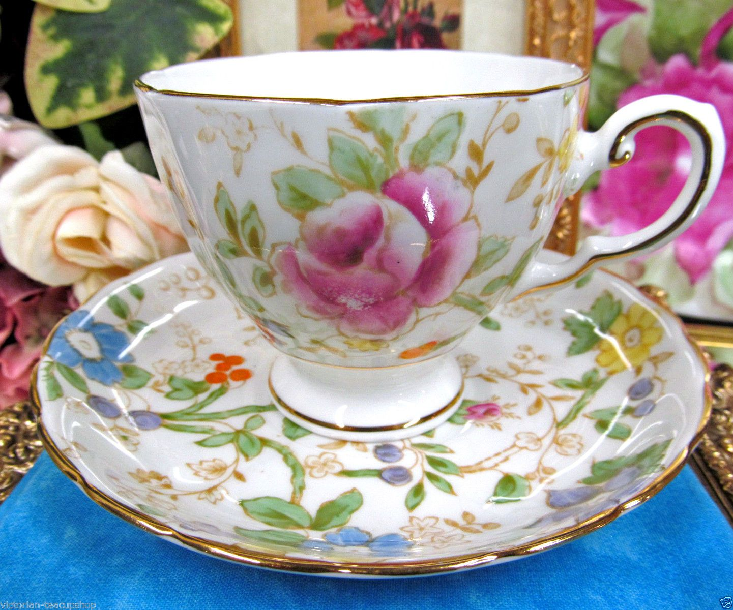 TUSCAN TEA CUP AND SAUCER FLORAL CHINTZ ROSE PAINTED TEACUP & SAUCER in Antiques, Decorative Arts, Ceramics & Porcelain | eBay