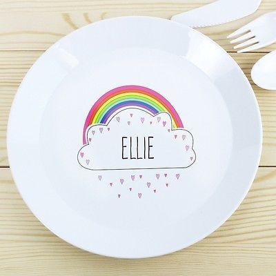 PERSONALISED Childrens Plate Rainbow. Plastic KIDS Dinner Plate. Girls Name  sc 1 st  Pinterest & PERSONALISED Childrens Plate Rainbow. Plastic KIDS Dinner Plate ...