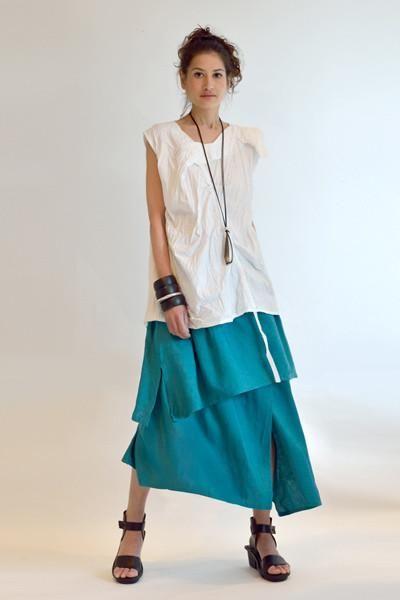 Asymmetric Skirt in Capri Papyrus