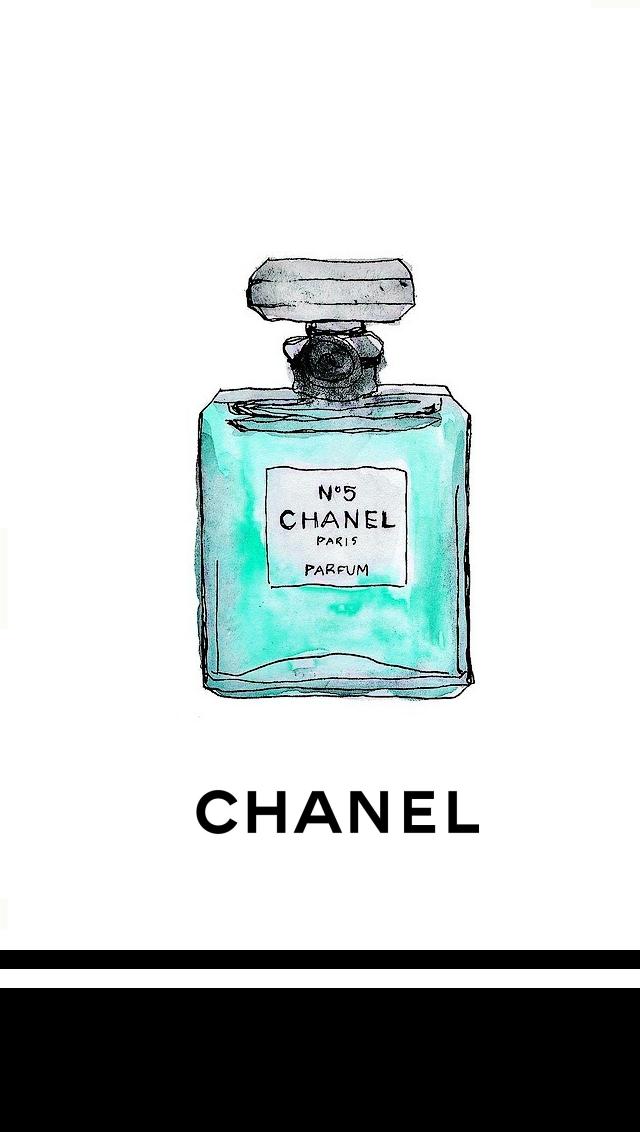 White Mint Watercolour Chanel Bottle Iphone Phone Wallpaper Background Lock Screen