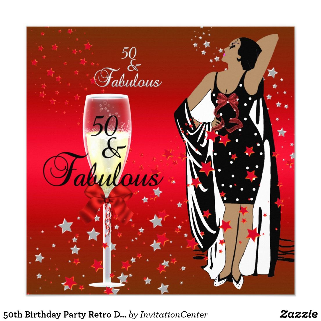 50th birthday party retro diva art deco red black invitation