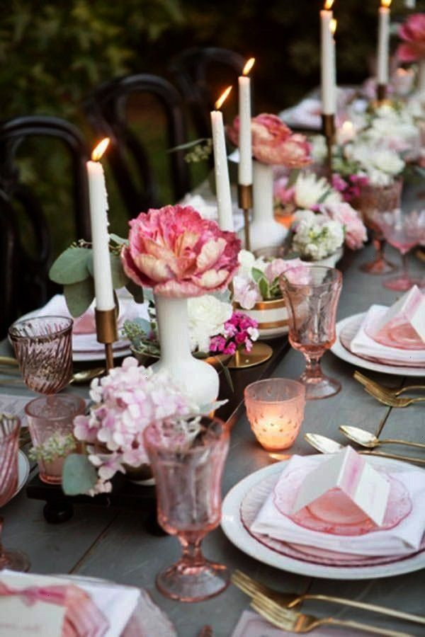 This Simple And Pretty Tablescape With A Lovely Outdoor Vintage Flair. The Pink And Gold Color Pale