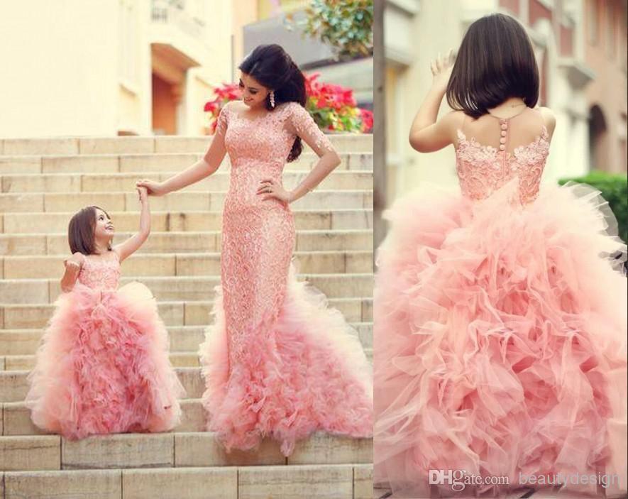 Compre Vestidos De Princesa White Lace Flower Girl Para La Boda 2018 ...
