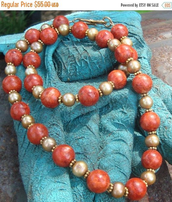 Christmas in July Red Sponge Coral and gold pearls necklace originally 115 dollars now 55  sale coral necklace   pearl necklace