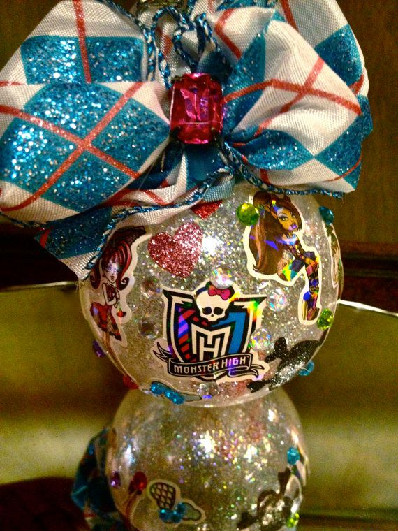 MONSTER HIGh Embellished Christmas Ornament with Red Bones Inside. $10.99,  via Etsy. - MONSTER HIGh Embellished Christmas Ornament With Red Bones Inside