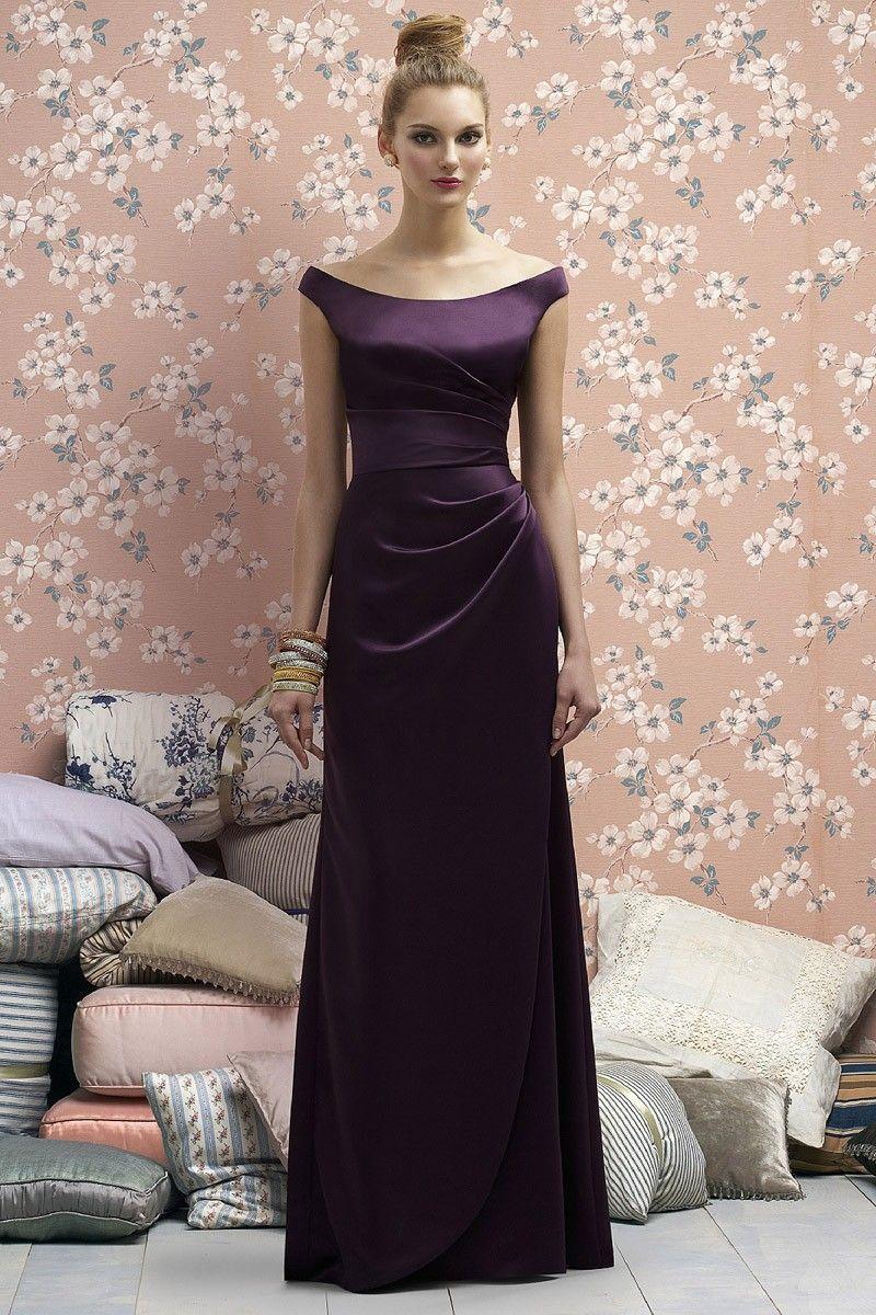 Plus size dark purple bridesmaid dress satin long dress for party