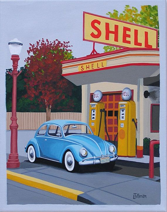 Mid Century Modern Eames Retro Limited Edition Print from Original Painting Vintage Gas Station VW Bug