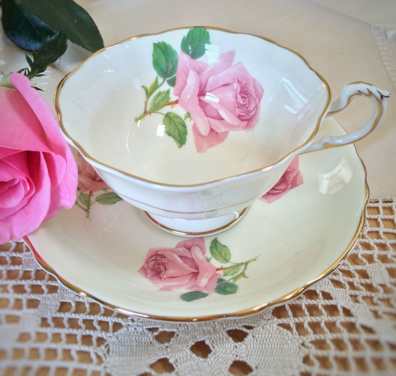 Royal albert bone china tea cup amp saucer winsome pattern ebay - Vintage Paragon Teacup And Saucer Gorgeous Ivory With Pink Cabbage Roses Bone China