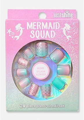 Just Shine Mermaid Squad Scented Press On Nails | Press on ...